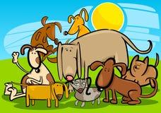 Gruppo del fumetto di cani divertenti Immagine Stock
