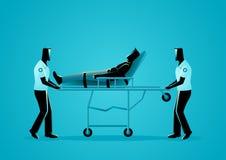 Gruppo del paramedico che muove uomo danneggiato su una barella illustrazione vettoriale