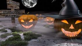 Gruppo del partito di Halloween di camminata che pumking royalty illustrazione gratis