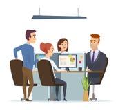 Gruppo del posto di lavoro dell'ufficio Direttori aziendali maschii e dialogo di seduta della tavola femminile di conversazione e illustrazione vettoriale