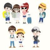 Gruppo del ragazzo e della ragazza di viaggiatore con zaino e sacco a pelo illustrazione di stock