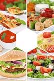 Gruppo del ristorante dei pasti del pasto del collage della raccolta del menu dell'alimento Immagine Stock