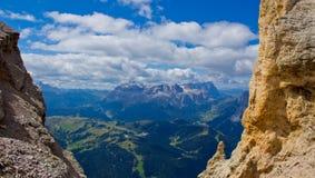 Gruppo del Sella e Sassolungo; Dolomiti Fotografie Stock Libere da Diritti