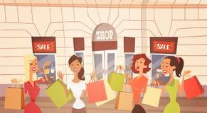 Gruppo della donna del fumetto con grande esterno del deposito di Retial dell'insegna di vendita del sacchetto della spesa royalty illustrazione gratis