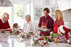 Gruppo della famiglia allargata che prepara il pasto di Natale in cucina Immagine Stock Libera da Diritti
