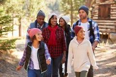 Gruppo della famiglia allargata sulla passeggiata attraverso il legno nella caduta Fotografie Stock