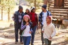 Gruppo della famiglia allargata sulla passeggiata attraverso il legno nella caduta Fotografia Stock