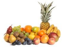 Gruppo della frutta su priorità bassa bianca Immagini Stock Libere da Diritti