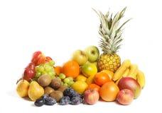 Gruppo della frutta su priorità bassa bianca Fotografia Stock Libera da Diritti