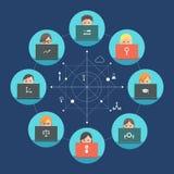 Gruppo della gente che lavora ai computer portatili Concetto di lavoro di squadra e di Team Roles Progettazione piana Immagine Stock Libera da Diritti