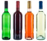 Gruppo della raccolta di alcool rosso della rosa di bianco delle bottiglie di vino isolato Immagine Stock