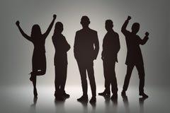 Gruppo della siluetta di gente di affari con l'espressione allegra Immagini Stock