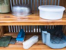 Gruppo della spazzola di lavaggio e dello strumento di lavoro domestico Fotografia Stock Libera da Diritti