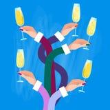Gruppo delle mani che tiene i vetri Champagne Wine Celebration Concept Immagine Stock