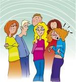 Gruppo di adolescenti del banco Fotografia Stock Libera da Diritti