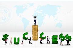 Gruppo di affari che crea parola di successo Immagine Stock Libera da Diritti