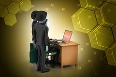 Gruppo di affari che esamina un computer portatile Immagine Stock
