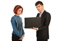 Gruppo di affari con il computer portatile Fotografia Stock Libera da Diritti