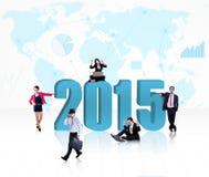 Gruppo di affari con il numero 2015 Immagini Stock Libere da Diritti