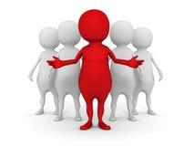 gruppo di affari 3d con l'uomo rosso del capo lavoro di squadra di successo Immagine Stock