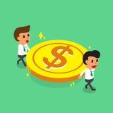 Gruppo di affari del fumetto che porta la grande moneta dei soldi Immagine Stock