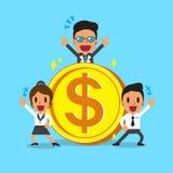 Gruppo di affari di concetto di affari con la grande moneta Immagini Stock