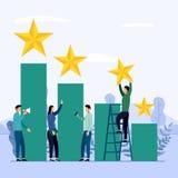 Gruppo di affari e concorrenza, risultato, riuscito, sfida illustrazione di stock