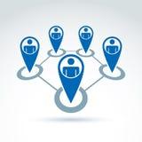 Gruppo di affari e di lavoro di squadra ed icona di amicizia, gruppo sociale, o Immagini Stock