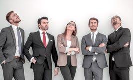 Gruppo di affari positivo felice che cerca con il sogno dell'espressione fotografia stock
