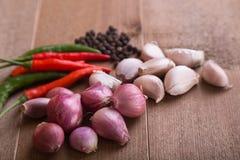 Gruppo di aglio tailandese del condimento dell'alimento, scalogni, peperoncini rossi, pepe nero Fotografia Stock