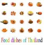 Gruppo di alimento tailandese isolato di piatti Fotografie Stock Libere da Diritti
