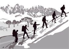 gruppo di alpinismo Fotografia Stock