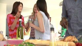 Gruppo di amici cenando partito a casa archivi video