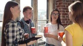 Gruppo di amici che bevono e che parlano video d archivio