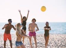 Gruppo di amici che giocano al pallavolo della spiaggia alla spiaggia Immagini Stock