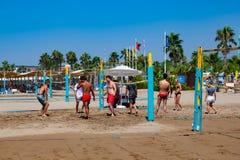 Gruppo di amici che giocano pallavolo della spiaggia immagine stock