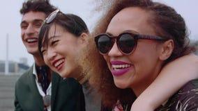 Gruppo di amici che hanno divertimento insieme video d archivio