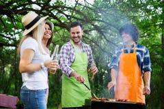 Gruppo di amici che hanno partito del barbecue in natura immagini stock libere da diritti