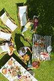Gruppo di amici che hanno picnic immagini stock libere da diritti