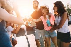 Gruppo di amici felici che hanno partito sul tetto Fotografia Stock