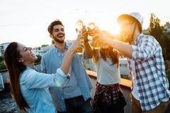 Gruppo di amici felici che hanno partito sul tetto Fotografia Stock Libera da Diritti