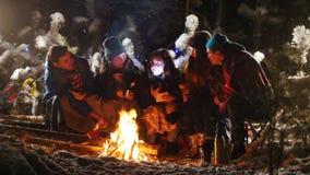 Gruppo di amici nella foresta di inverno che si siede vicino al falò e che ascolta la storia archivi video