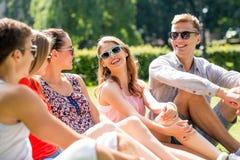 Gruppo di amici sorridenti all'aperto che si siedono nel parco Fotografia Stock