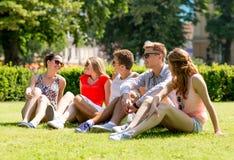 Gruppo di amici sorridenti all'aperto che si siedono sull'erba Fotografia Stock Libera da Diritti
