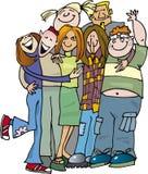Gruppo di anni dell'adolescenza del banco che huging Immagine Stock Libera da Diritti
