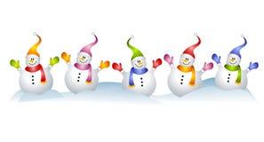 Gruppo di arte di clip del pupazzo di neve dei pupazzi di neve royalty illustrazione gratis