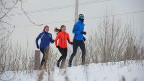 Gruppo di atleti che pareggiano nella foresta di inverno archivi video