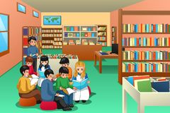 Gruppo di bambini della scuola che studiano nell'illustrazione delle biblioteche illustrazione vettoriale