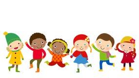 Gruppo di bambini di inverno Fotografia Stock