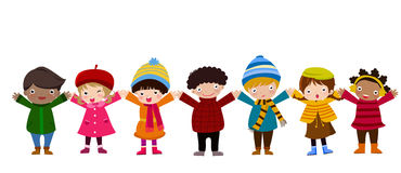 Gruppo di bambini e di inverno Fotografia Stock